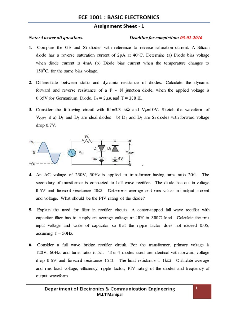 Be Assignment 1 Electrical Circuits Filter Calculators