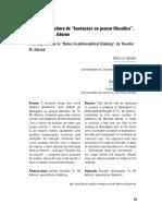 NOBRE, Marcos_ JANUÁRIO, Adriano. Exercício de Leitura de Anotações Ao Pensar Filosófico de Adorno