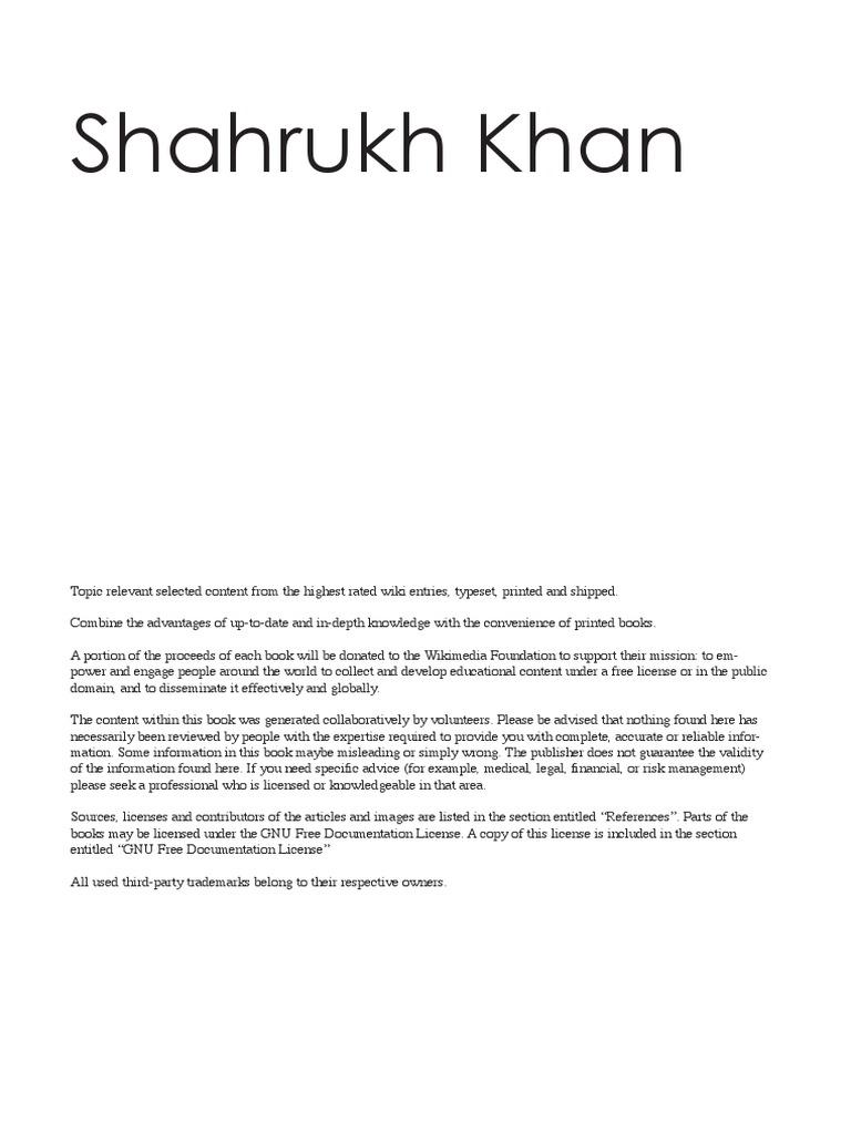 Shahtrukh Khan Book | Bollywood | Cinema Of India