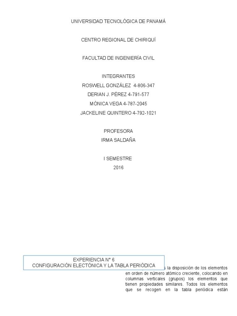 Laboratorio configuracin electrnica y la tabla periodica urtaz Images