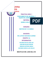Practica Num. 1 Conociomiento Del Material y Equipo de Laboratorio