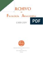 Filología Aragonesa - Archivo LXIII-LXIV