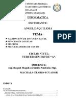 Validación de Datos en Excel, Funciones Logicas, Macros, Procesadores de Texto