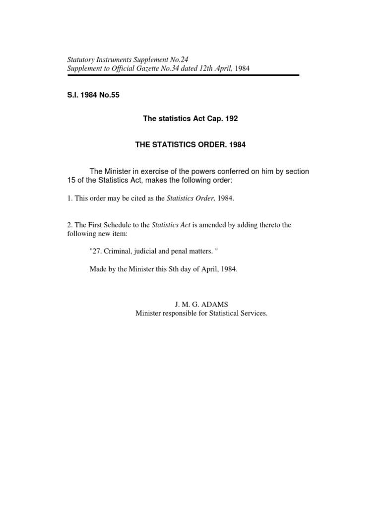 Barbados Statistics Act | Oath Of Office | Census