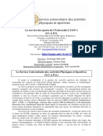Presentation Du Service Des Sports de Lyon 1 Pr Rentree 2015