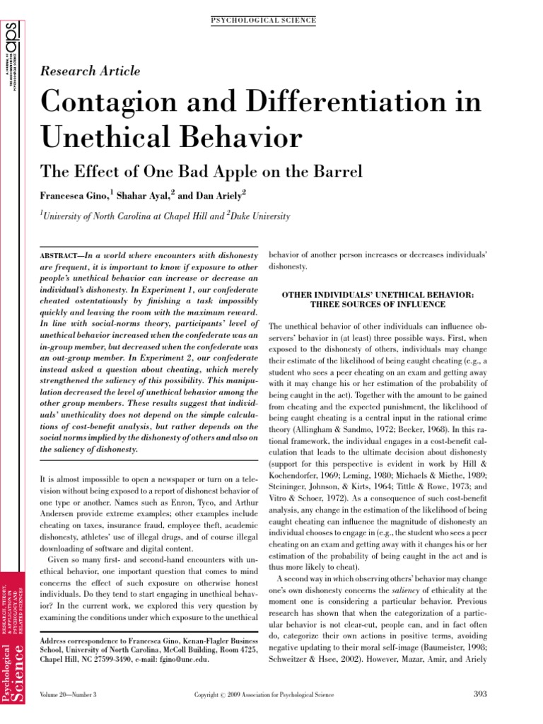 Contagion And Differentiation In Unethical Behavior Pdf