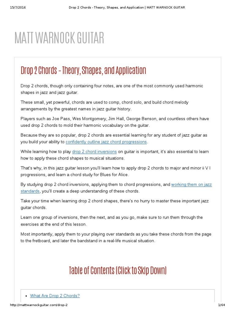 Drop 2 Chords Theory Shapes And Application Matt Warnock
