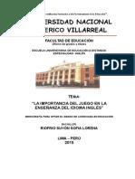 """Monografia en Formato Inicial -""""el JUEGO EN iNGLÉS"""""""