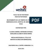 Mejoramiento de Los Tiempos de Atención de Emergencia en El Hospital Dr. Mario Catarino Rivas