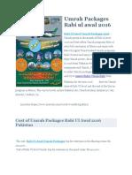 Rabi Ul Awal Umrah Packages 2016