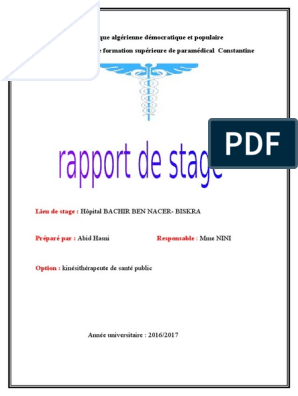 Mon Rapport De Stage 2 Eme Année Docx Médecine De Soins