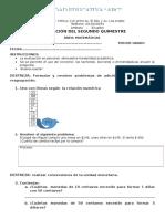 Cuestionario Matematicas para 3ro