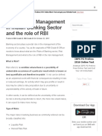 What is Risk Management in Indian Banking Sector and the Role of RBI