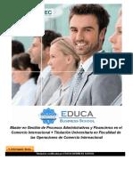 Master en Gestión de Procesos Administrativos y Financieros en el Comercio Internacional + Titulación Universitaria en Fiscalidad de las Operaciones de Comercio Internacional