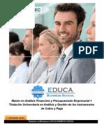 Master en Análisis Financiero y Presupuestario Empresarial + Titulación Universitaria en Análisis y Gestión de los Instrumentos de Cobro y Pago