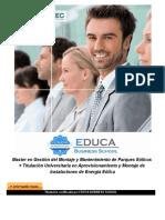 Master en Gestión del Montaje y Mantenimiento de Parques Eólicos + Titulación Universitaria en Aprovisionamiento y Montaje de Instalaciones de Energía Eólica