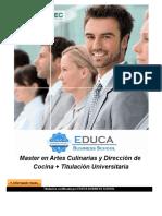 Master en Artes Culinarias y Dirección de Cocina + Titulación Universitaria