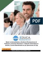 Master en Asesoramiento y Gestión de Reclamaciones de Productos y Servicios Financieros + Titulación Universitaria en Gestión y Control Administrativo de las Operaciones de Caja