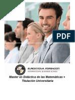 Master en Didáctica de las Matemáticas + Titulación Universitaria