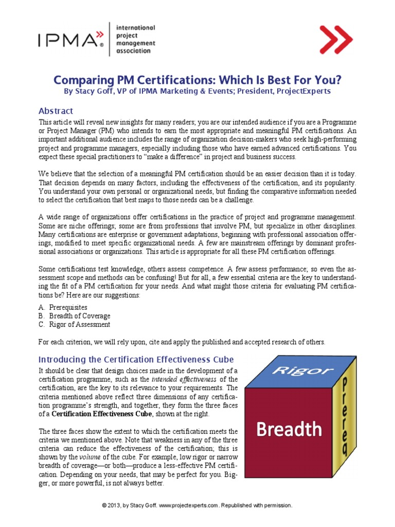 Pm Certifications Compared Professional Certification Project
