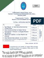 CAMPEONATO MAGISTERIAL-2016 PROGRAMACIÓN 7° FECHA  FUTSAL MASTER
