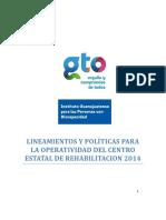 LINEAMIENTOS Y POLÍTICAS PARA LA OPERATIVIDAD DEL CENTRO ESTATAL DE REHABILITACION 2014
