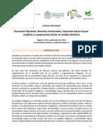 Agenda Encuentro Nacional Tierras, Cambio Climático y Postconflicto 20 de septiembre