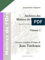Archives Des Maitres de l'Orgue Vol 1