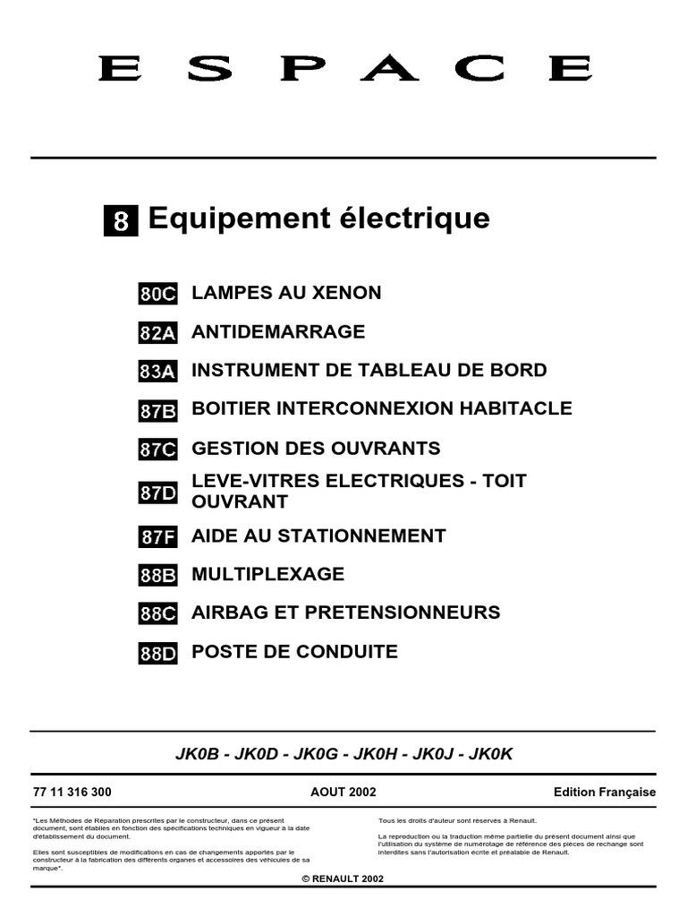 Espace 4 Equipement Electrique Pdf Memoire Vehicules