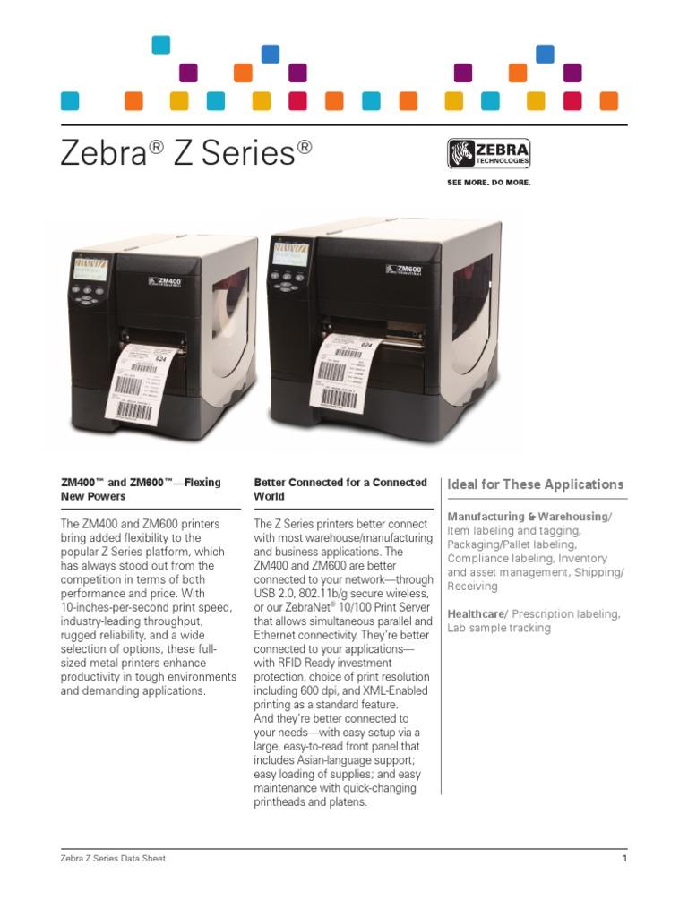 zm-series-datasheet-en-us pdf | Printer (Computing) | Packaging And