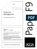 ACCA F9 Question - December 2007