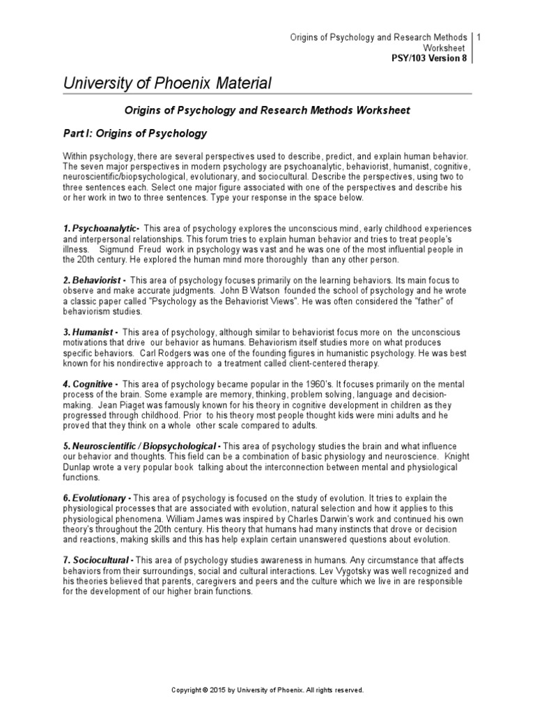 Workbooks illness management and recovery worksheets : Origins of Psychology and Research Methods Worksheet | Behaviorism ...