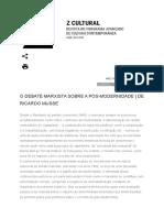 O DEBATE MARXISTA SOBRE A PÓS-MODERNIDADE - DE RICARDO MUSSE