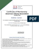 Certificate for ALA Membership