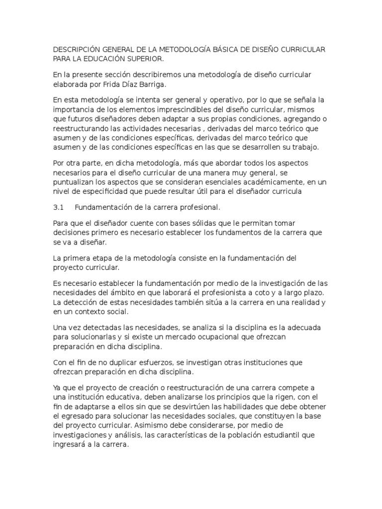Descripción General de La Metodología Básica de Diseño Curricular ...