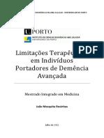 Limitacoes Terapeuticas Em Individuos Portadores de Demencia