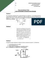 Tarea de Ecuacion de Continuidad Ecuacion de Bernoulli y Cantidad de Movimiento 1er Semestre 2016
