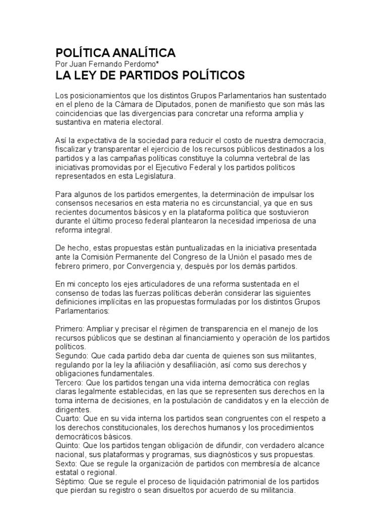 LA LEY DE PARTIDOS POLITICOS | Partidos políticos | Democracia