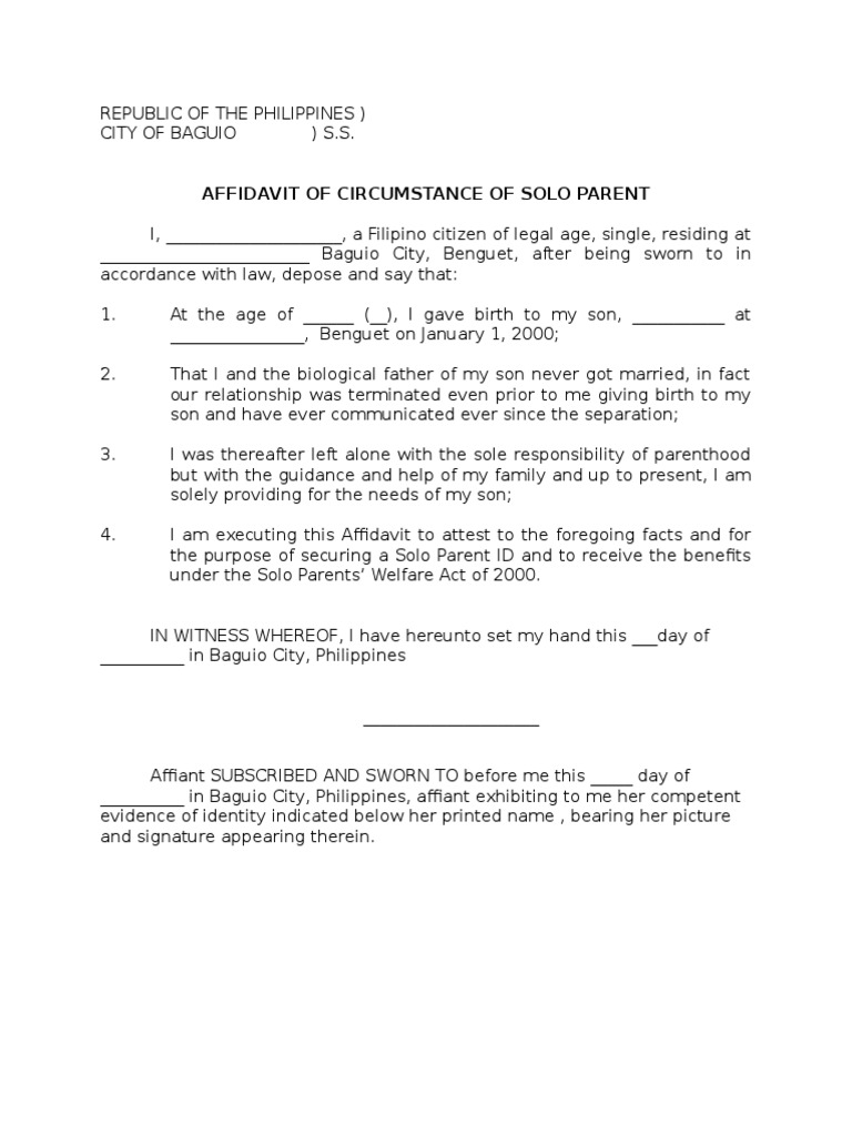 sample affidavit of solo parent