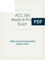 ACC 561 Final Exam | ACC 561 Week 6 Final Exam | Transweb E Tutors