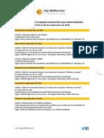 Agenda de Actividades Destacadas. Del 8 al 30 de septiembre de 2016. Fundación Caja Mediterráneo