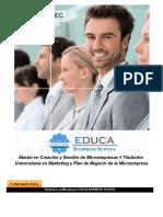 Master en Creación y Gestión de Microempresas + Titulación Universitaria en Marketing y Plan de Negocio de la Microempresa