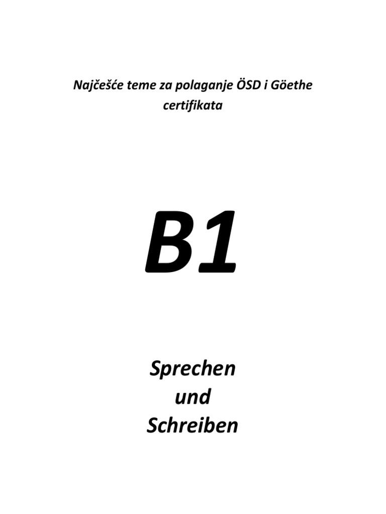 Najčešće Teme Za Schreiben I Sprechen Za Polaganje B1 Certifikata