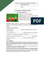 Las aventuras de Troncho y Poncho - Ficha de las Expresiones Algebraicas