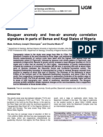 Bouguer anomaly and free-air anomaly correlation signatures in parts of Benue and Kogi States of Nigeria