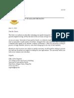 Sample of Letter