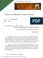 Stupeur Et Tremblements d'Amélie Nothomb Análise Critique