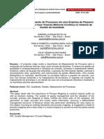 Aplicacao de Mapeamento de Processos Em Uma Empresa de Pequeno Porte Um Estudo de Caso Visando Melhoria Continua No Sistema de Gestao Da Qualidade