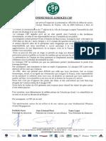 Communiqué du Limoges CSP