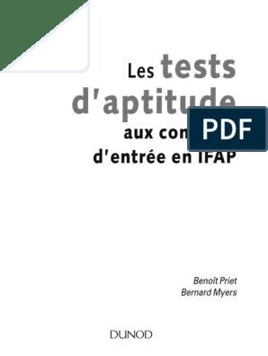 100% de qualité supérieure officiel de vente chaude sur des coups de pieds de Les tests d'aptitudes (concours IFAP)